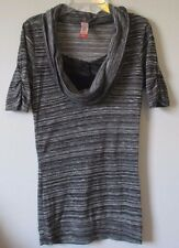 No Boundaries S 3/5 Gray Cowl Neck Short Sleeves Ruching Tunic Top Stretch Knit