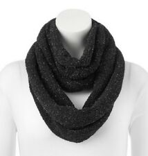 """SO Chenille Lurex Accent Infinity Scarf, Black, 29"""" x 12"""", FREE S&H"""