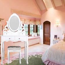 4 Drawer Dressing Table Drawer Stool Adjustable Mirror Bedroom Makeup Desk White