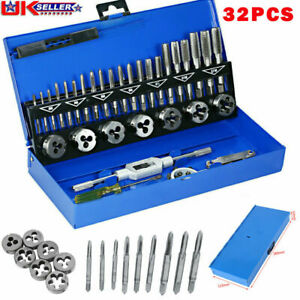 32 PCS Tap and Die Set Metric Wrench Cut M3-M12 Hand Threading Tool Bolts+Case