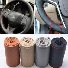 Beige DIY Genuine Cowhide Braid Leather Car Steering Wheel Cover 38 CM Universal