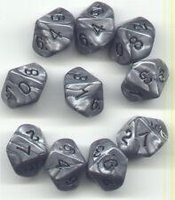 NEW RPG Dice Set of 10D10 - Koplow Olympic Pearl Silver