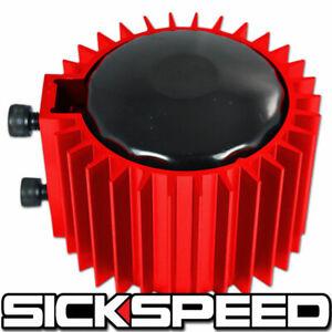 RED ENGINE OIL FILTER COOLER/HEAT SINK COVER/CAP BILLET ALUMINUM KIT EF EG