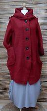 Lagenlook Mix di lana * bellissima con cappuccio 2 Tasche Lunga Giacca/Cappotto * Profondo Rosso * L-XL