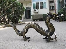 China Folk collection Old Bronze Copper Made myth Lucky Fly Dragon Statue