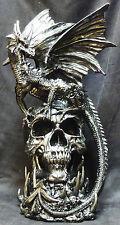 """DRACO   Dragon on Skull   Statue   H17"""" x L9.5'' x W9.5''"""