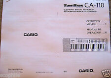 Casio CA-110 Tone Bank Keyboard Owners User's Operating Manual Booklet