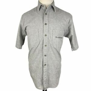 Harley Davidson Button Front Shirt Small Gray Motorcycle Short Sleeve Embroider