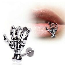 Women Men Punk Skull Devil Hand Lip Piercing Jewelry Skeleton Stud Earrings