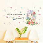 Removable Happy Girl Flowers Wall Sticker Art Mural Wall Decal Home Decor Diy Sy