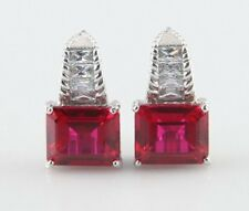 Judith Ripka Sterling Silver Emerald-Cut Synthetic Ruby & CZ Leverback Earrings