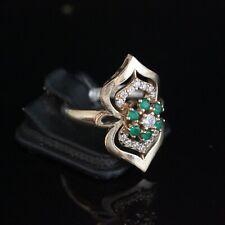 Turkish Handmade Jewelry Sterling Silver 925 Emerald Ring Ladies 9