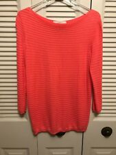 LOFT Women's Pink/Coral Rayon/Cotton Stretch 3/4 Sleeve Knit Top Sz Med