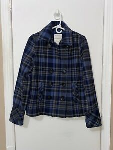 NWT Women's AEROPOSTALE wool Plaid Pea-Coat squared Blue Black Jacket Sz Large