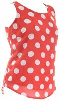 Womens New Red White Polka Print Lined Sleeveless T Shirt Top Ladies Plus Size