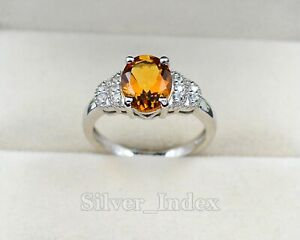 10X8 MM Citrine Natural Gemstone 925 Sterling Silver Anniversary Ring For Women