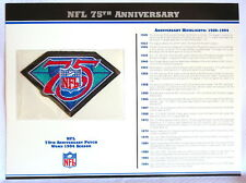 NATIONAL FOOTBALL LEAGUE ~ NFL 75th ANNIVERSARY PATCH CARD Willabee & Ward 1994