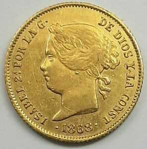 1868 Spain Philippines 4P Isabel II GOLD Coin 6.74gms.  Hard to Find.  Beautiful