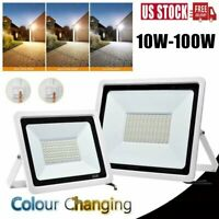 RGB 10-100W Flood Lights Outdoor Garden Color Changing LED Security Lamp Remote