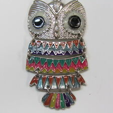 Owl Necklace Vintage Costume Jewelry Hinged Enamel Feathers