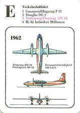 1962 Antonov An-24 Coke turboprop  USSR URSS Plane PLAYING CARD CARTE À JOUER