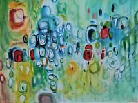 """Original Abstract Oil Painting, Signed, by Nalan Laluk, """"Suckers"""""""