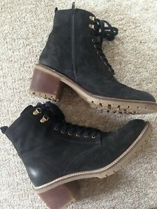 NEXT SIGNATURE SOFT SUEDE LEATHER CLEAT LACE UP BLOCK HEEL ANKLE BOOTS UK 7 41
