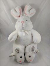 "Golden Bear Co White Rabbit Plush Sits 12"" Korea"