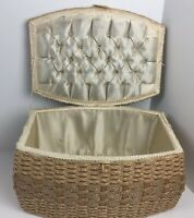 Vintage Seeing Box Basket Woven Hinged Lid Catalin Handle Tufted Diamond Pearls