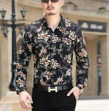Mens Floral Print Suit Leopard Long Sleeve Formal Dress Casual Shirts Tops New