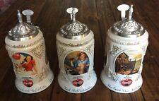 Anheuser Busch Coca Cola Early Illustrators Steins Set Of 3 Artist Signed!