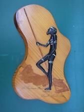 Vintage Wooden Carving Aborigine Hunter Plaque fr Kimba South Australia 1950'S