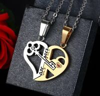 2pcs Stainless Steel Couple Forever Love Matching Key Hearts Pendant Necklaces