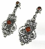 TAXCO MEXICAN 925 STERLING SILVER AMBER BEADED BEAD SCROLL EARRINGS MEXICO