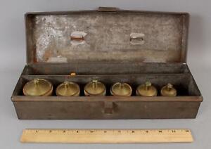RARE 19thC Antique Doctors Medical Bloodletting Set 6-Horn Cups & Blood Syringe
