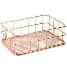 Storage Basket Metal Wire Bathroom Shelves Makeup Organiser Rose Gold Brush  X1G6