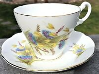 Royal Ascot Vintage Bone China TEA CUP & SAUCER SET White Gold Wheat England Vtg