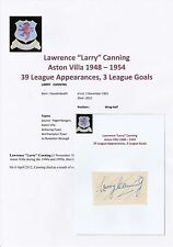 LARRY CANNING ASTON VILLA 1948-1954 RARE ORIGINAL HAND SIGNED CUTTING/CARD