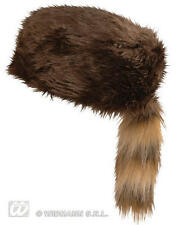Brown Fur Davy Crocket Hat Cap Huntsman Trapper Fancy Dress