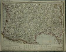 1883 Letts Map ~ France Southern Section Imports Correze Gironde Lot