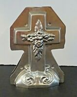 "Vintage EASTER CROSS with FLOWERS CHOCOLATE MOLD 8"" tall EUC"