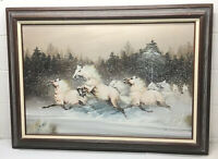 EQUESTRIAN LARGE FRAMED CANVAS PAINTING PALOMINO HORSES IN SNOW DAVID FORBES