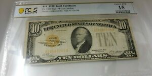 1928 $10 Gold Certificate PCGS Choice Fine 15 Fr 2400