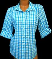 Van heusen blue white gingham folded collar women's plus size button down top XL