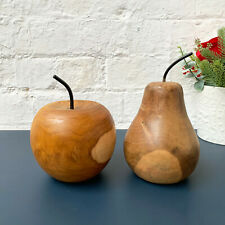 Vintage Hand Carved Wood Apple & Pear Fruit Sculpture Home Decorative Ornaments