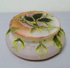 ORIGINAL EMILE GALLE' FRENCH CAMEO ART GLASS LIDDED DRESSER BOX, c. 1900