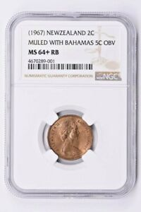 1967 New Zealand 2 Cents NGC MS 64+ RB, MULED WITH BAHAMAS 5C OBV Witter Coin