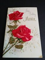 Vintage Norcross Greeting Card American Beauty Rose Happy Birthday Mother 1960