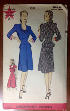 Vintage 1930s 1940s HOLLYWOOD Sewing Pattern 1502 One-Piece Dress B32 H35