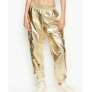 Victorias Secret Sport Jogger Pant Gold Foil metallic Size M/M